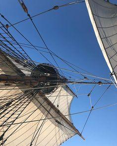 Tallship view #tallshipsails #tallshiplife #foremast #forecourse #bluesky #newjerseyshore #photobydavidfeldt
