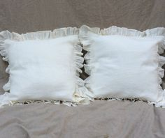white ruffled euro shams