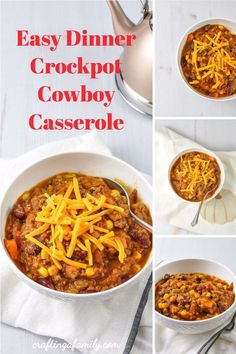 Crockpot Cowboy Casserole, super easy dinner you can start in the morning and have ready at the end of a busy day. Kid friendly loaded with veggies. Delicious cheesy easy family meal Crockpot Cowboy Casserole, Easy Mexican Casserole, Super Easy Dinner, Dinner Recipes Easy Quick, Easy Recipes, Easy Family Meals, Easy Meals, Canned Stewed Tomatoes, Dinner This Week