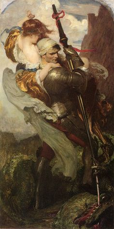 "Solomon Joseph Solomon (British , 1860-1927), ""St. George"" A gorgeous painting."