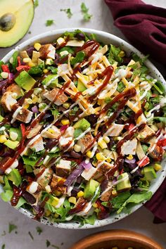 BBQ Chicken Salad - Life Made Simple salad salad salad recipes grillen rezepte zum grillen Green Veggies, Fresh Vegetables, Clean Eating, Healthy Eating, Wonton Strips, Sauce Barbecue, Chicken Salad Recipes, Pulled Chicken Salad Recipe, Simple Chicken Salad