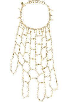 Rosantica Carmen gold-dipped freshwater pearl finger bracelet | NET-A-PORTER