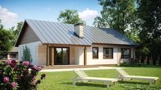 Dom w budowie Rural House, Bungalow House Plans, Bungalows, Future House, My House, Modern Brick House, Affordable House Plans, Courtyard House, Small House Design