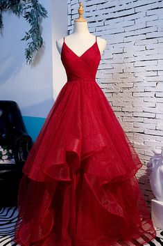 Red Tulle Layered Spaghetti Straps V Neck Lace Up Prom Dress, Evening Dress #promdress