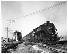 The Alton Limited, passing Iles Tower 1939. Springfield, Illinois