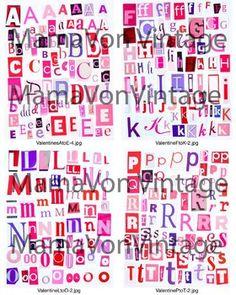 Printable digital alphabet black white grey series a to z 1 10 printable magazine letter cutouts valentine theme literacy centers woodwork pink red spiritdancerdesigns Choice Image