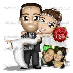 Caricatura para casamento - Noivos Katia e Luiz Fernando - noivinhos cuttie