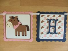 Cowgirl Cowboy Western Birthday Party Banner Sign Horse Pony Horseshoe Hat Pink Brown Tan Navy Blue by PeachyPaperCrafts