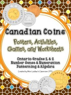 This 151-page resource is great for Grades 1 and 2 classrooms. It focuses on the Number Sense and Numeration expectations focusing on money (coins) but covers other NS+N expectations and some Patterning and Algebra (Expressions of Equality) expectations.Please see the product thumbnails for this product's table of contents; a product preview is also available.Included are: puzzles, posters, word wall pages, quizzes, worksheets, games, math centres, a list of applicable specific curriculum…