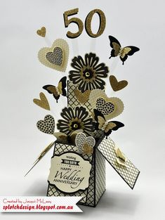 Splotch Design - Jacquii McLeay Independent Stampin' Up! Demonstrator: anniversary card in a box. Hearts and Mixed Bunch. Stampin Up Karten, Stampin Up Cards, Fancy Fold Cards, Folded Cards, Wedding Anniversary Cards, Wedding Cards, Paper Anniversary, 25th Anniversary, Pop Up Box Cards