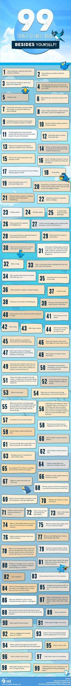 Una genial infografía con 99 ideas para tuitear
