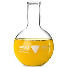 Kimble Glass Flat Bottom Flask 500ml | Measuring Flask, Molecular Flask, Boiling Flask: Amazon.co.uk: Kitchen & Home Science Supplies, Boro, Wine Decanter, Flask, Florence, Barware, Drinks, Free Delivery, Bottles