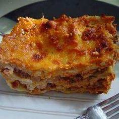 For lasagna made simple, use uncooked lasagna and layer with cooked ground beef and spaghetti sauce, cottage cheese, mozzarella cheese, eggs and dried parsley. add a bit of water, cover and bake.