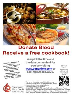 FREE cookbook for those who register to give blood with CBC April 16 - May 12.