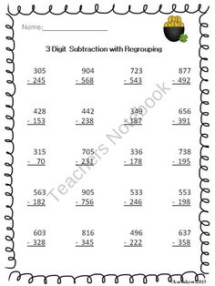 3 Digit Subtraction with Regrouping product from Karen-Sanborn-Hyers on TeachersNotebook.com
