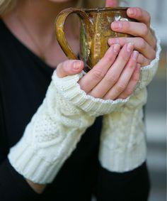 Diamond-Knit Hand Warmers
