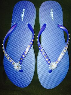 359edd4b7a66 Navy women Old Navy Flip Flops with Swarovski Crystals and silk flower.  Available at www.crystalsbylola.com or Etsy shop CrystalsbyLola. Also take  custom ...