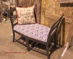 two old chairs now make a beautiful bench with this DIY project. What better way to sturdy up to old chairs?! Put a piece of MDF across the top and upholster it. - cool idea