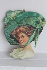 Lady with Big Hat * St Patricks Day * Glitter Ornament * Vintage Card Image