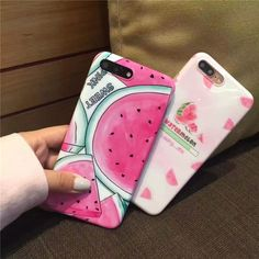 Meachy Silicone Soft IMD Case Cover For iPhone 7 Plus 6 6s 6 Plus Summer Fruit Watermelon Phone Cases Pink Fashion Newest D38 #iphone6scase,