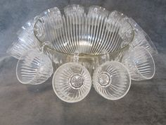Crystal Punch Bowl with Cups. $45.00, via Etsy.