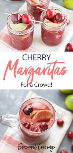 These Cherry Margaritas by the pitcher are the best big batch cocktails around. They are perfect for Spring and Summer and so easy to make with frozen cherries. Pina Colada, Margarita Recipes, Cocktail Recipes, Cocktail Ideas, Cocktail Drinks, Cherry Margarita, Spicy Candy, Beste Cocktails, Summer Cocktails