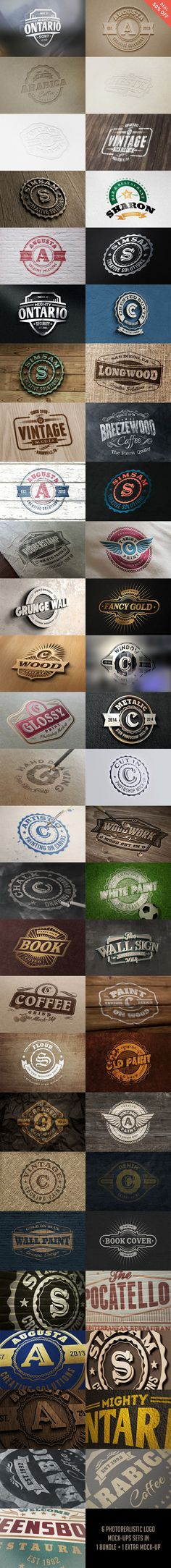 A bundle of 55 photorealistic logo mock-ups great for presentation of your logo, badge, sign design, text or shape...