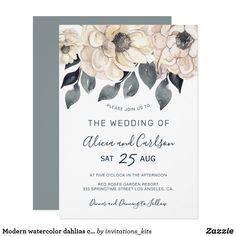 Modern watercolor dahlias cream and grey wedding invitation