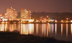Barrie all lit up! Light Up, Ontario, New York Skyline, Places To Go, Things To Do, Canada, Earth, Night, City
