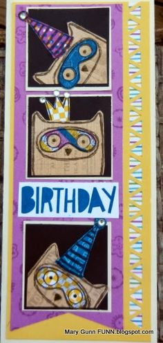 Mary Gunn FUNN - August Close To My Heart stamp of the Month with Confetti Wishes paper. WHOOO doesn't love a whimsical owl birthday card?