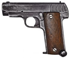 Gabilondo y Uresti Ruby semi-automatic pistol    Manufactured in Eibar, Spain c.1914-1918 by Gabilondo and Uresti (GU).  .32ACP/7,65mm Browning seven-round removable box magazine, blowback semi-automatic.  The original Ruby Model pistol that was ordered by France at the beginning of WW1, seen here as most of them were manufactured, a bit rough around the edges but functional.