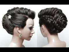 Bridal Hairstyle. Wedding Updo For Long Hair Tutorial Step By Step - YouTube