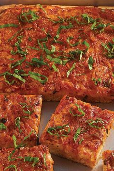 Sicilian-Style Pizza - Sicilian-Style Pizza – In Sicily, a generous, almost focaccia-like crust is commonly topped with - Sicilian Style Pizza, Sicilian Food, Sicilian Recipes Authentic, Comida Siciliana, Pizza Recipes, Cooking Recipes, Skillet Recipes, Oven Recipes, Gastronomia