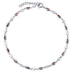 Sterling Silver 925 Multicolor Cubic Zirconia CZ Anklet Ankle Bracelet from Berricle - Price: $36.99