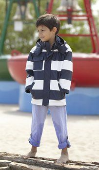 Hatley Boy's Splash Jacket-Navy and White Stripes Raincoat, Blue (Blue/White), 4 Years