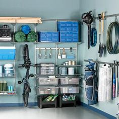 Revamping your garage could be as easy as clearing out the clutter! Add bike racks, and other wall storage to your garage. This is a quick upgrade, plus it makes your garage look more open (in turn. Clean Garage, Organized Garage, Diy Garage, Garage Bike, How To Organize Garage, Garage Tools, Yard Tools, Small Garage, Modern Garage