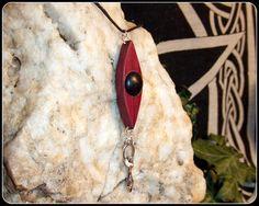 Third Eye design Goddess Pendant Necklace in Irish Bog Oak & Purple Heart Wood Unique Gift - New Moon Enterprise  - 1