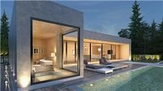 Bungalow House Design, Small House Design, Modern House Design, Modern Glass House, Modern House Plans, Home Building Design, Building A House, Plan Ville, Small Modern Home