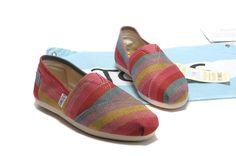 Toms Shoes Burlap Stripe Womens Classics Rainbow via http://www.oneforonelove.com/