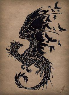 Black raven dragon tattoo design by Alvia Alcedo - very Game of Thrones -esque.