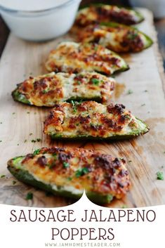 Jalapeno Poppers With Sausage, Jalapeno Popper Recipes, Cream Cheese Stuffed Jalapenos, Stuffed Jalapeno Peppers, Best Jalapeno Poppers, Cream Cheese Jalapeno Poppers, Pepper Poppers, Sausage Appetizers, Soup Appetizers