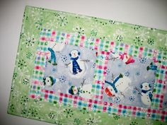 Snowman Table Runner with snow flakes quilted by PicketFenceFabric, $32.00