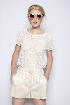 blouse Marelle ecru Guipure 100% coton - chemise Femme - Des