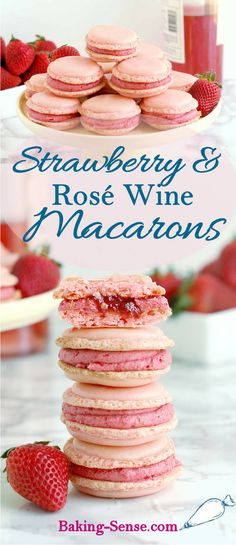 Strawberry & Rosé Wine Macarons - Baking Sense