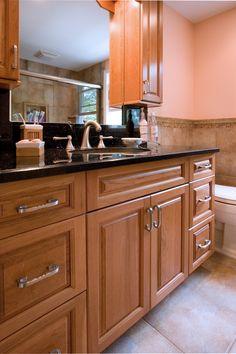 NDA Kitchens - Bathroom, Vanity, wood, mirror, sink, granite