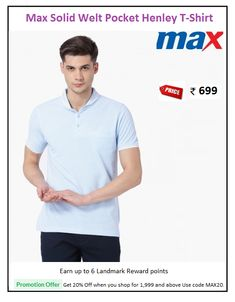 #Max #Solid #Welt #Pocket #Henley #T-Shirt  #Type : Polo Neck #Price: ₹699.00 #Style : Casual #Fabric : Cotton Blend #Fit : Slim Polo Tees, Welt Pocket, Slim, Type, Casual, Fabric, Mens Tops, Cotton, T Shirt