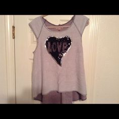 "Cute Distressed LOVE Top !Size Large This Is An Adorable Top I purchased From Another Posher Too Small Great For Someone Out There It's So Cute And Longer In the Back Then The Front Chest Is 40"" And In ReLly Great Condition! Just Asking What I Paid Thanks! PRICE FIRM Penelope Tops Tank Tops"