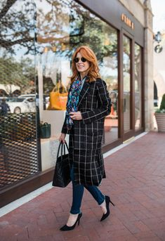 Michael Stars Plaid Coat- Black and White Windowpane Check Coat- The- Middle Page Black and White Coat