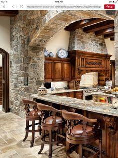 gorgeous wood & stone kitchen