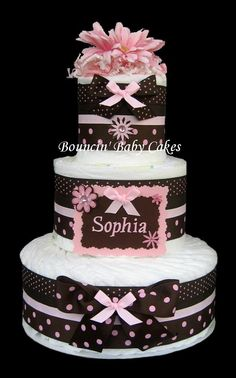 Pink and Brown Diaper Cake Centerpiece